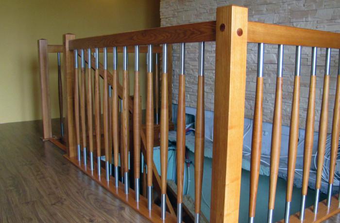 Balustrada drewno, tralka bańka + inox