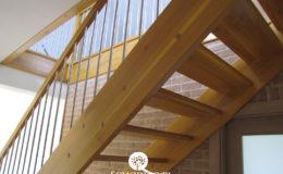 Schody Q.pl Sochaczew Debowe proste , balustrada inox 16mm (1)