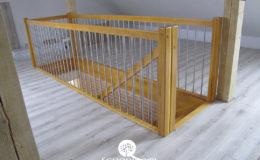 Schody Q.pl Sochaczew Debowe proste , balustrada inox 16mm (2)