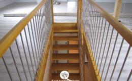 Schody Q.pl Sochaczew Debowe proste , balustrada inox 16mm (5)